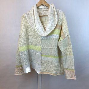 {FREE PEOPLE} Patchwork Cowl Neck Sweater